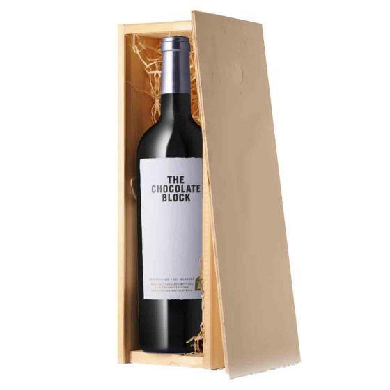 Wijnpakket The Chocolate block in kist