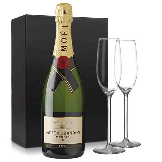 Moët & Chandon Brut Champagne pakket met 2 glazen