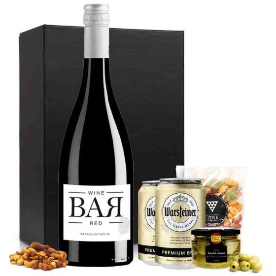 VrijMiBo borrelbox met rode wijn en bier